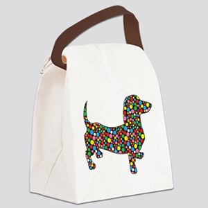 Dachshund Polka Dots Canvas Lunch Bag